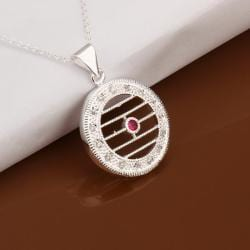 Vienna Jewelry Sterling Silver Laser Cut Horizontal Circular Emblem Necklace - Thumbnail 0