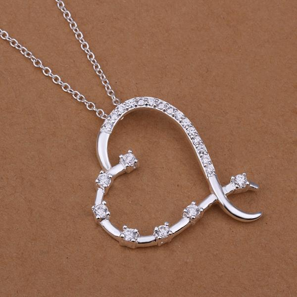 Vienna Jewelry Sterling Silver Curved Heart Shaped Modern Necklace