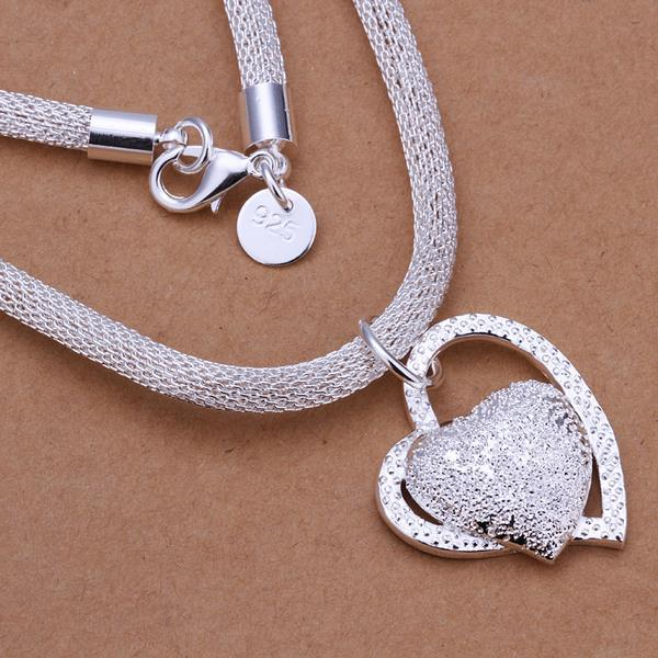 Vienna Jewelry Sterling Silver Duo Heart Shaped Emblem Drop Necklace