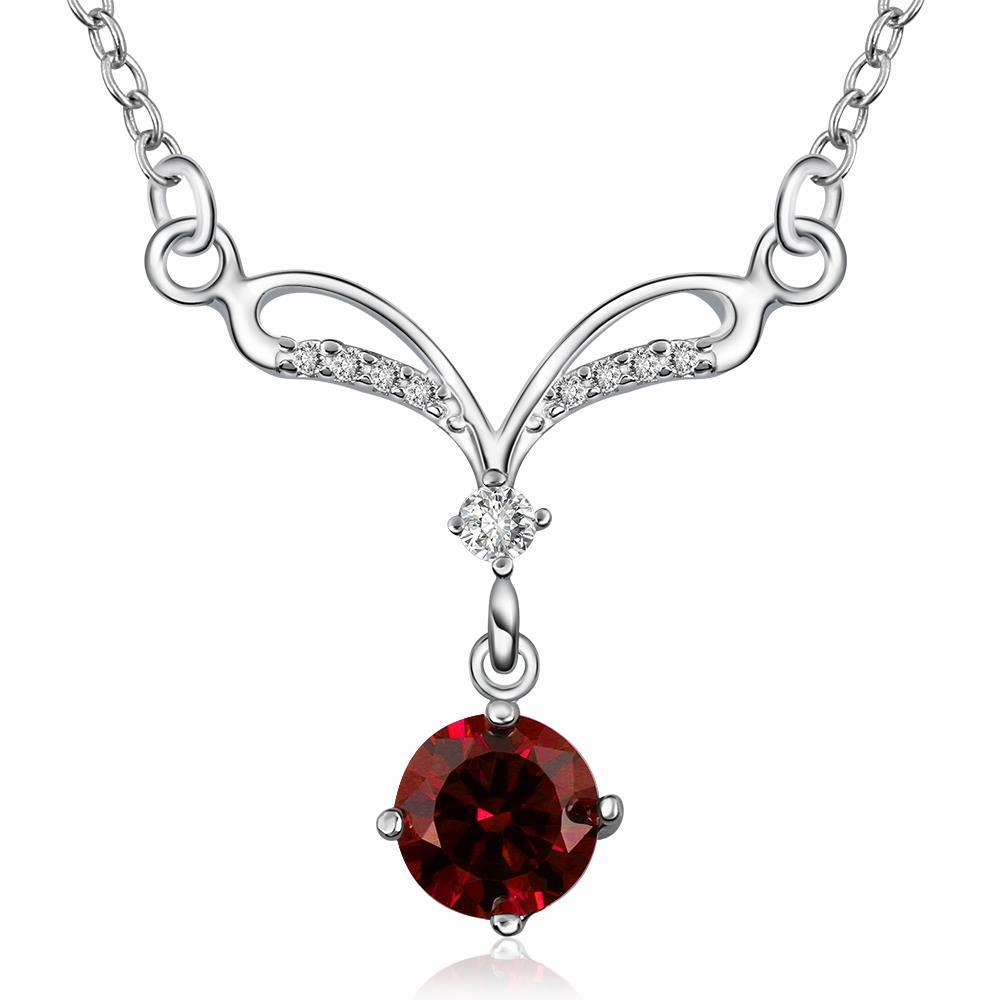 Vienna Jewelry Sterling Silver Classical Curved Ruby Red Necklace
