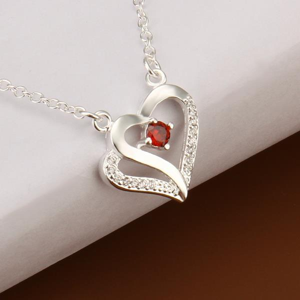 Vienna Jewelry Sterling Silver Petite Ruby Hollow Heart Drop Necklace
