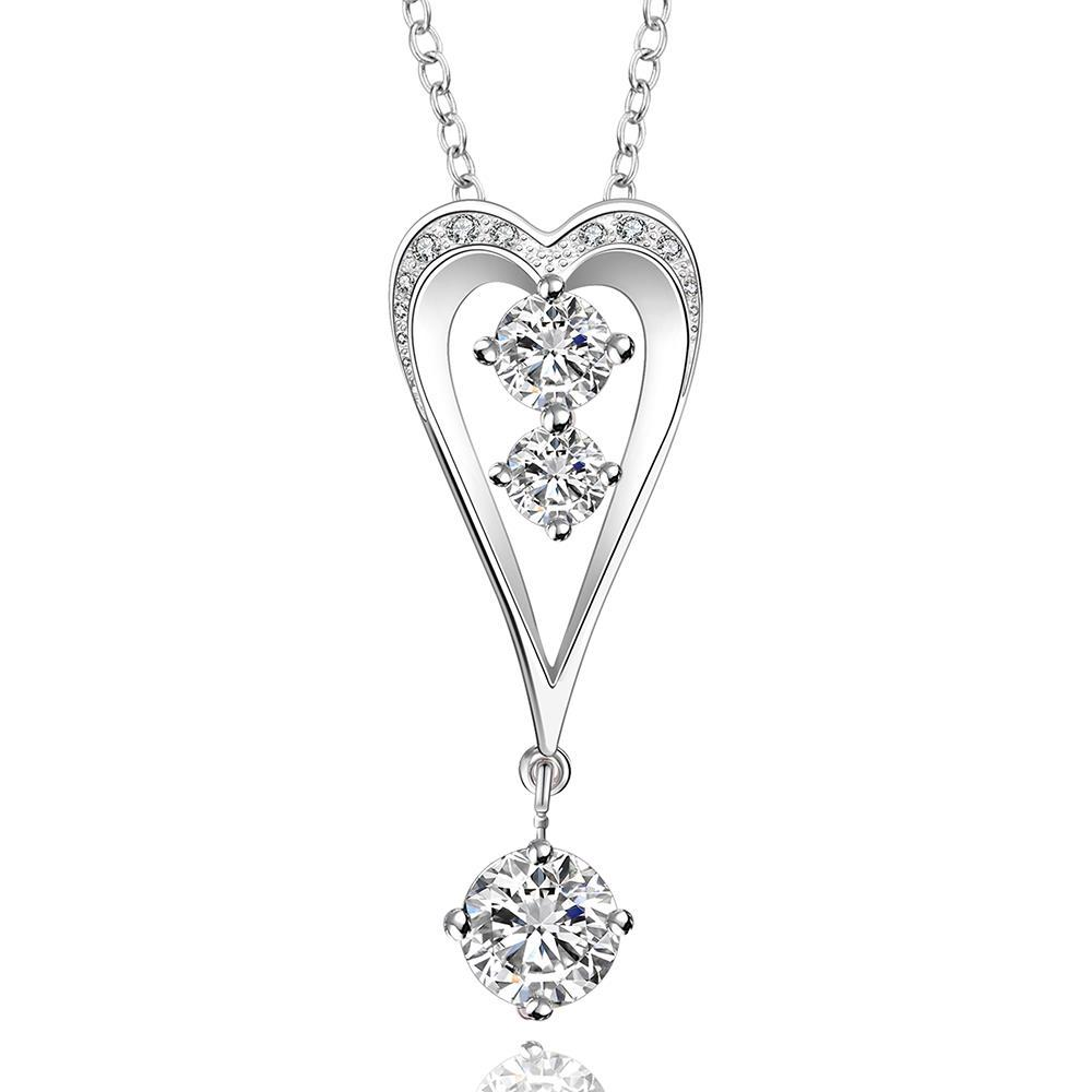 Vienna Jewelry Sterling Silver Harp Shaped Crystal Drop Necklace