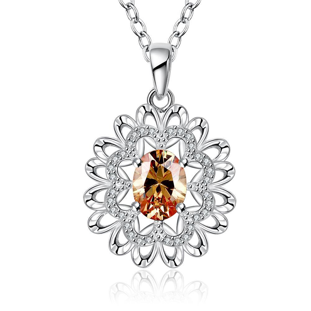 Vienna Jewelry Sterling Silver Orange Citrine Snowflake Pendant Necklace