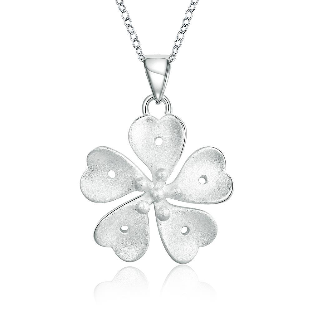 Vienna Jewelry Sterling Silver Swirl Clover Necklace