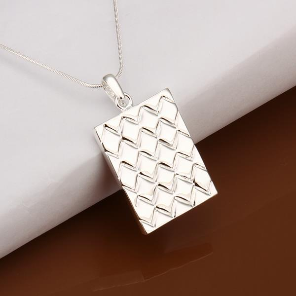 Vienna Jewelry Sterling Silver Square Shaped Design Cut Drop Necklace