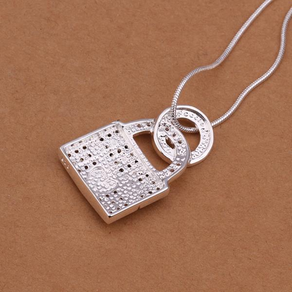 Vienna Jewelry Sterling Silver Modern Lock Drop Necklace