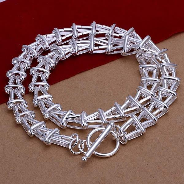 Vienna Jewelry Sterling Silver Curved Roman Inspired Chain Necklace