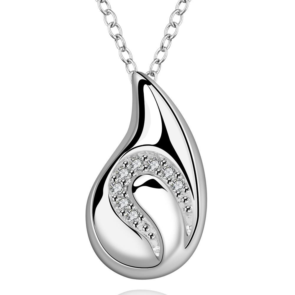 Vienna Jewelry Sterling Silver Crystal Lined Curved Pendant Drop Necklace
