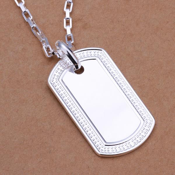 Vienna Jewelry Sterling Silver Classic Dog Tag Drop Necklace