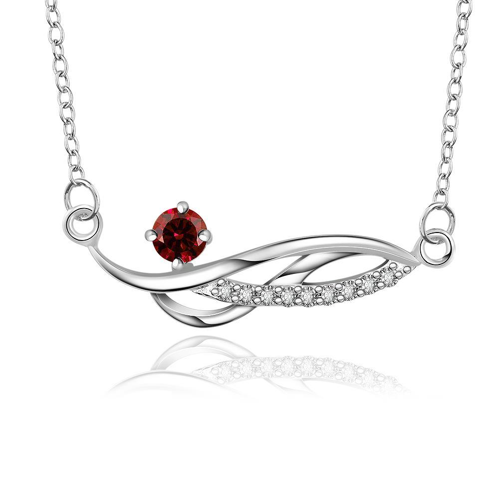 Vienna Jewelry Sterling Silver Curved Ruby Gem Necklace