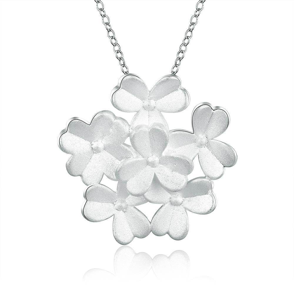 Vienna Jewelry Sterling Silver Large Cluster Clover Necklace