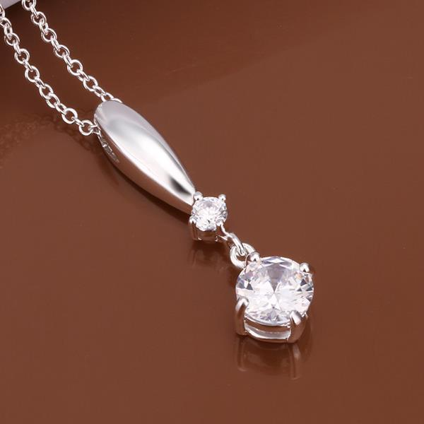 Vienna Jewelry Sterling Silver Dangling Classic Crystal Gem Necklace