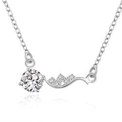 Vienna Jewelry Sterling Silver Side Lining Classical Crystal Necklace - Thumbnail 0