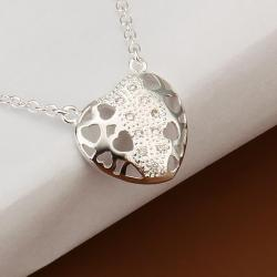 Vienna Jewelry Sterling Silver Laser Cut Heart Emblem Necklace - Thumbnail 0