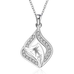 Vienna Jewelry Sterling Silver Curved Laser Cut Pendant Necklace - Thumbnail 0