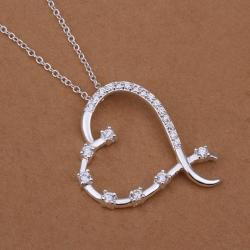 Vienna Jewelry Sterling Silver Curved Heart Shaped Modern Necklace - Thumbnail 0