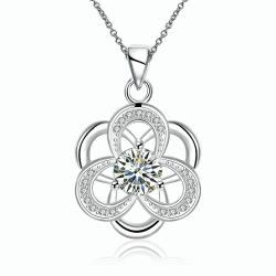 Vienna Jewelry Sterling Silver Abstract Curved Snowflake Drop Necklace - Thumbnail 0