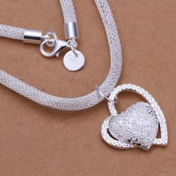 Vienna Jewelry Sterling Silver Duo Heart Shaped Emblem Drop Necklace - Thumbnail 0