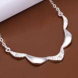 Vienna Jewelry Sterling Silver Curved Embelm Dangling Necklace - Thumbnail 0