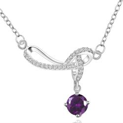 Vienna Jewelry Sterling Silver Intertwined Purple Citrine Drop Necklace - Thumbnail 0