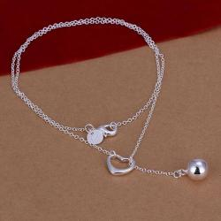 Vienna Jewelry Sterling Silver Pearl Drop & Heart Closure Necklace - Thumbnail 0