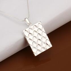 Vienna Jewelry Sterling Silver Square Shaped Design Cut Drop Necklace - Thumbnail 0