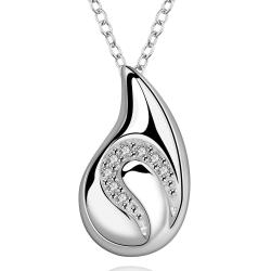 Vienna Jewelry Sterling Silver Crystal Lined Curved Pendant Drop Necklace - Thumbnail 0