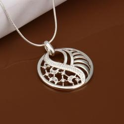 Vienna Jewelry Sterling Silver Laser Cut Crystal Emblem Necklace - Thumbnail 0