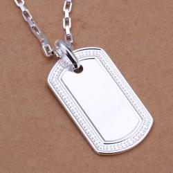 Vienna Jewelry Sterling Silver Classic Dog Tag Drop Necklace - Thumbnail 0