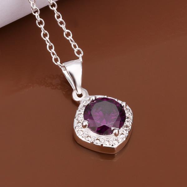 Vienna Jewelry Sterling Silver Purple Citrine Emblem Necklace