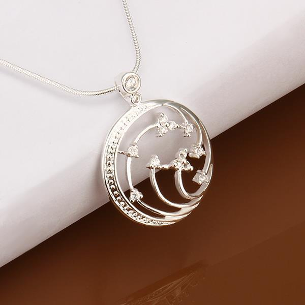Vienna Jewelry Sterling Silver Floral Orchid Emblem Necklace