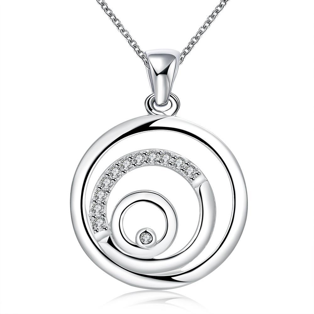 Vienna Jewelry Sterling Silver Swirl Design Pendant Necklace