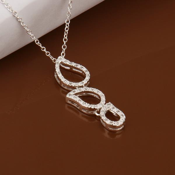 Vienna Jewelry Sterling Silver Trio-Emblem Drop Necklace