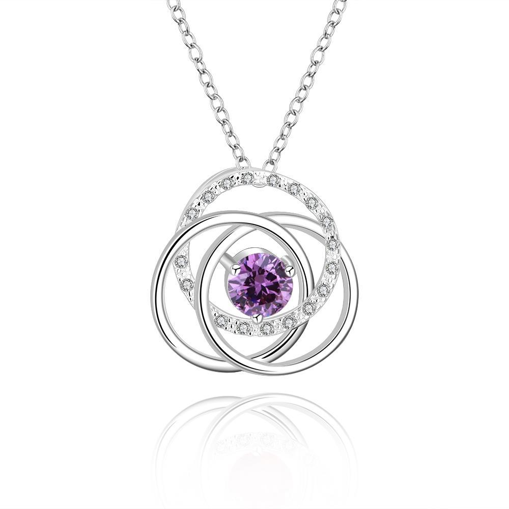 Vienna Jewelry Sterling Silver Multi Curved Purple Citrine Pendant Necklace