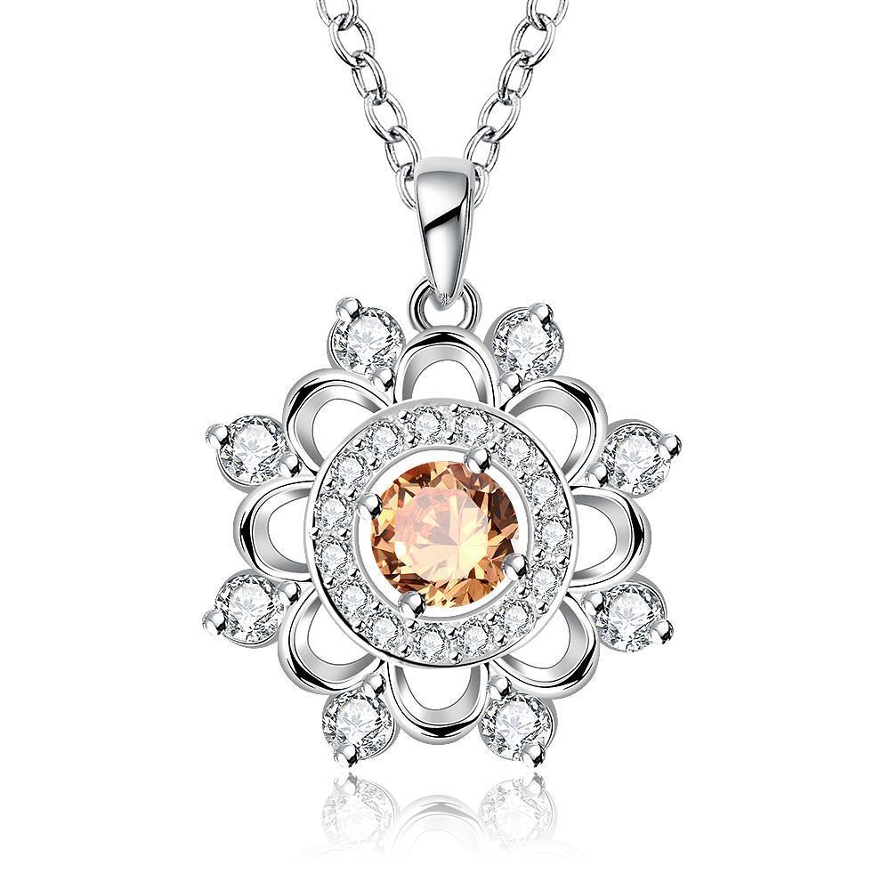 Vienna Jewelry Sterling Silver Circular Orange Citrine Snowflake Pendant Necklace