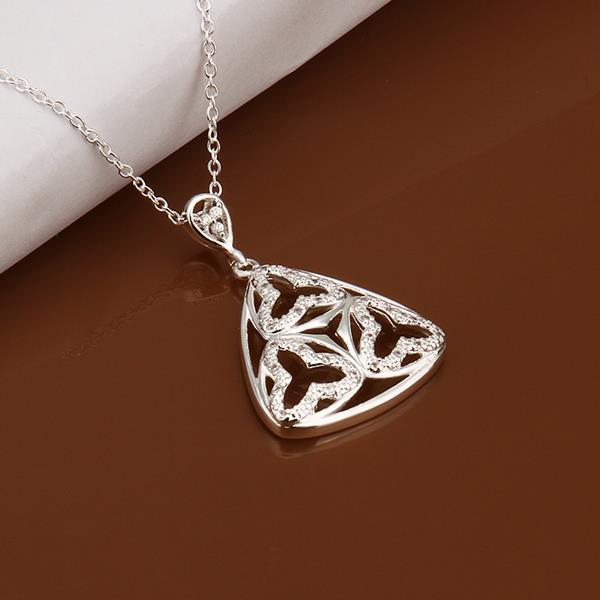 Vienna Jewelry Sterling Silver Laser Cut Pyramid Drop Necklace