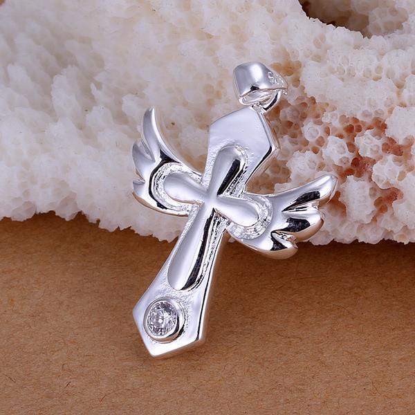 Vienna Jewelry Sterling Silver Cross Emblem Pendant