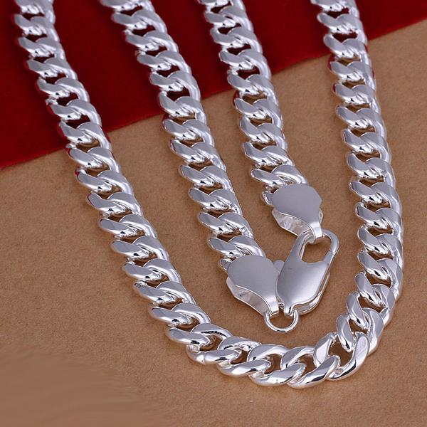 Vienna Jewelry Sterling Silver Thick Cut Necklace