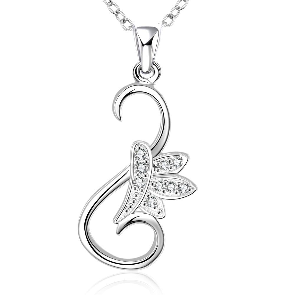 Vienna Jewelry Sterling Silver Curved Floral Pendant Drop Necklace