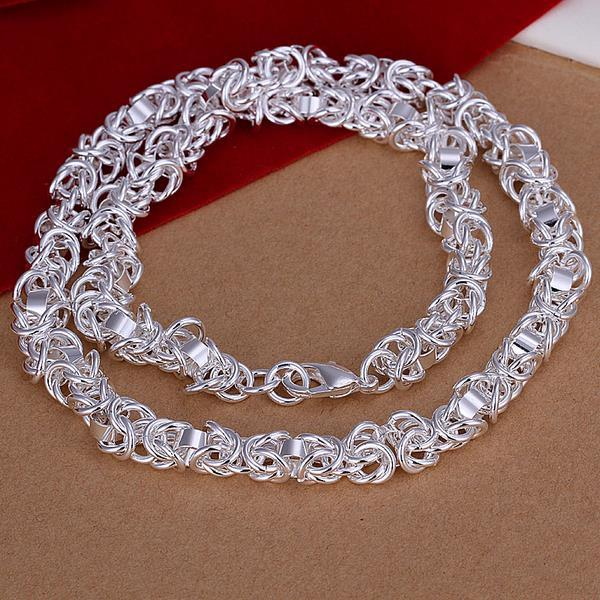 Vienna Jewelry Sterling Silver Chain Lock Thick Necklace