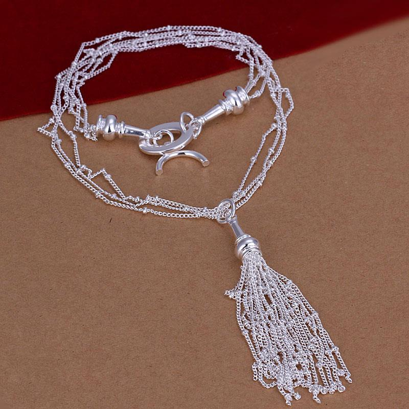 Vienna Jewelry Sterling Silver Multi Dangling Lining Dangling Drop Necklace