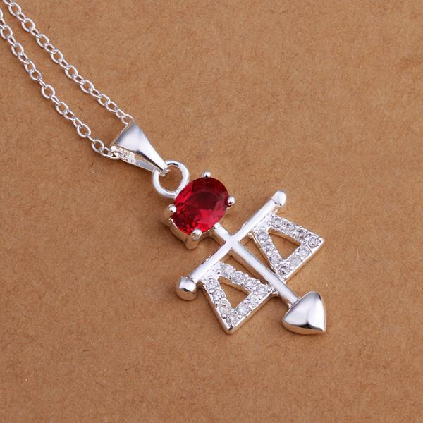 Vienna Jewelry Sterling Silver Ruby Gem Spear Drop Necklace