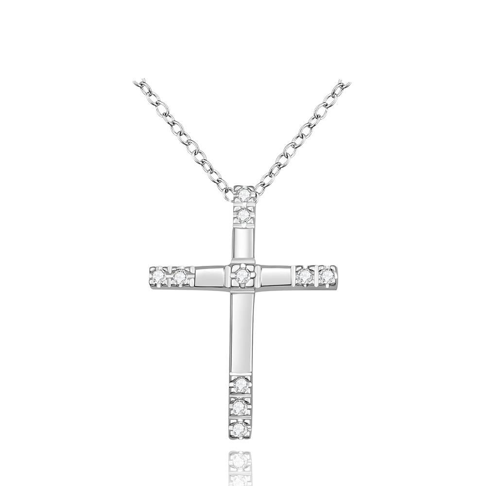 Vienna Jewelry Sterling Silver Classical Sleek Cross Necklace
