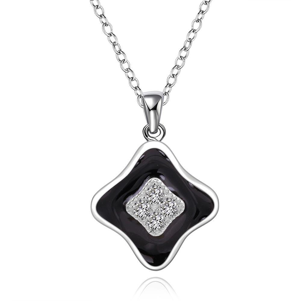 Vienna Jewelry Sterling Silver Onyx Layering Diamond Shaped Drop Necklace