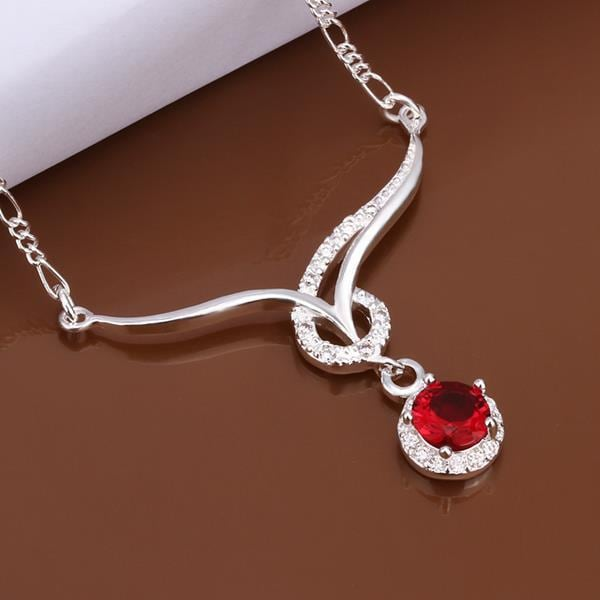 Vienna Jewelry Sterling Silver Curved Lining Ruby Red Necklace