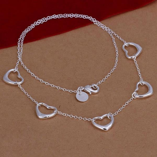 Vienna Jewelry Sterling Silver Multi Hollow Heart Dangling Necklace