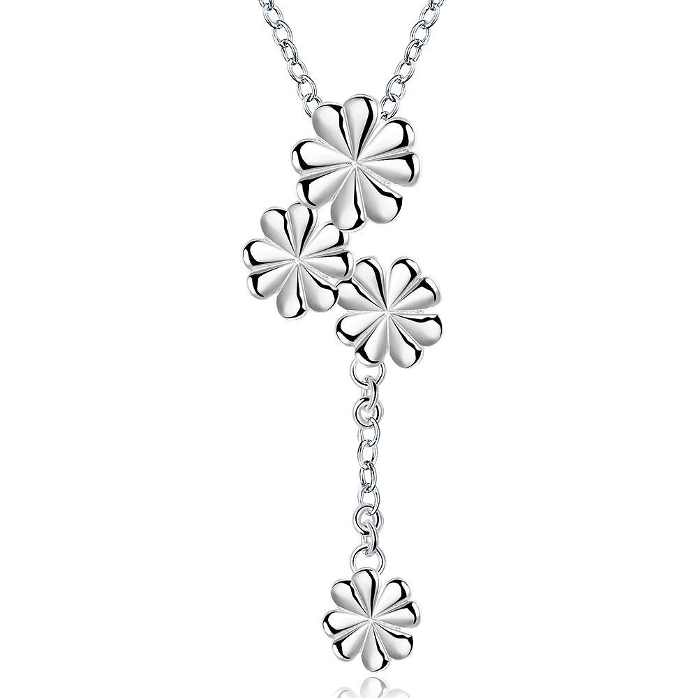 Vienna Jewelry Sterling Silver Quad-Clover Stud Dangling Necklace