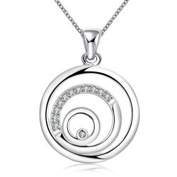 Vienna Jewelry Sterling Silver Swirl Design Pendant Necklace - Thumbnail 0