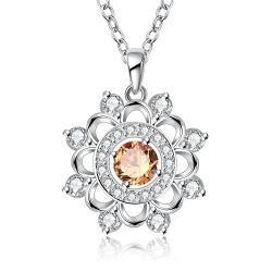 Vienna Jewelry Sterling Silver Circular Orange Citrine Snowflake Pendant Necklace - Thumbnail 0