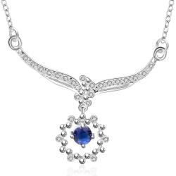 Vienna Jewelry Sterling Silver Mock Sapphire Clover Drop Necklace - Thumbnail 0